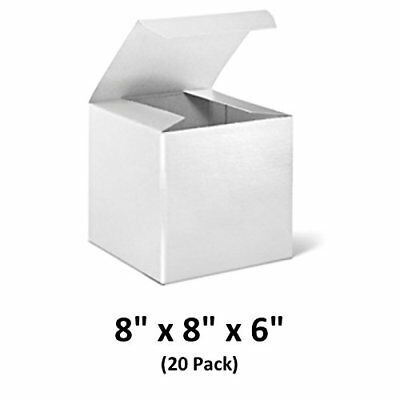 White Cardboard Tuck Top Gift Boxes 8x8x6 20 Pack  Magicwater Supply