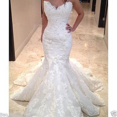 New Mermaid Lace Wedding Dress Long Bridal Gown Custom Size:4 6 8 10 12 14 16 18