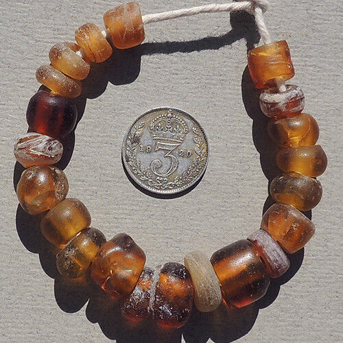 20 old antique dutch amber glass beads senegal mali african trade 1700