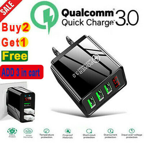 3 Port USB Home Wall Fast Charger LED DIGITAL DISPLAY QC 3.0 For Cell Phone US