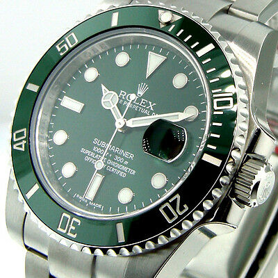 ROLEX 116610LV SUBMARINER GREEN DIAL THE HULK GREEN CERAMIC BEZEL