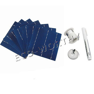 20pcs 6x6 Whole Solar Cells Kit w/Tab, Bus Wire & Flux Pen for DIY Solar Panel