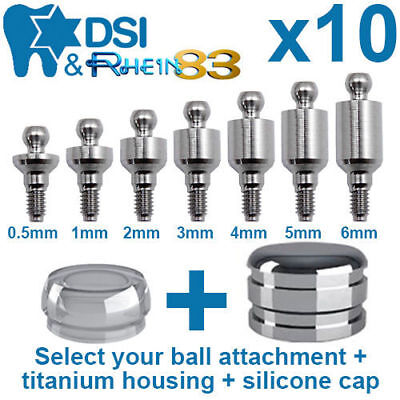 10 X Dental Implant Ball Attachment Kit Silicone Caps Titanium Housing