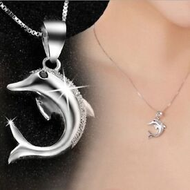 925 Sterling Silver Dolphin CZ Pave Setting Pendant Necklace Chain New