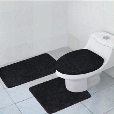 3-Piece Quinn Solid Bathroom Rug Set Bath ...