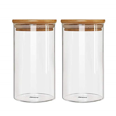Set of 2 Glass Storage Jar with Airtight Seal Bamboo Lid Kit