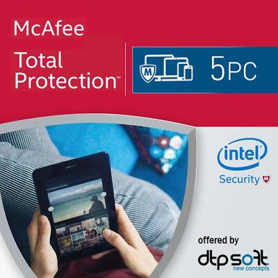 McAfee Total Protection 2021 5 PC VOLLVERSION Antivirus 2021 DE EU