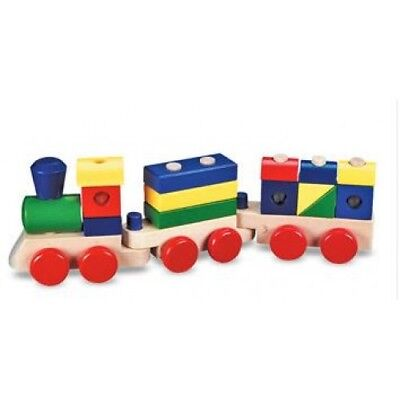 Melissa and Doug Wooden Stacking Train - Kids Classic Wooden Train Blocks Toy