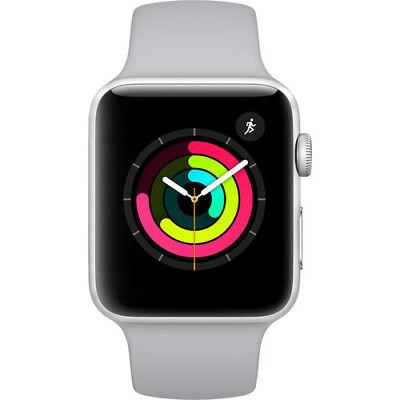 New Apple Watch Series 3 42Mm Silver Aluminum Case Fog Sport Band Gps  Mql02ll A