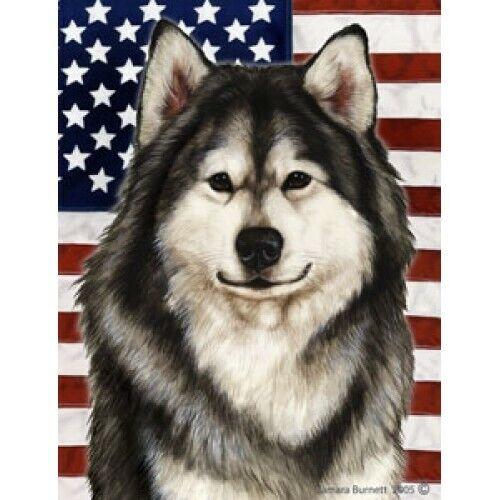 Patriotic (D2) House Flag - Alaskan Malamute 32147