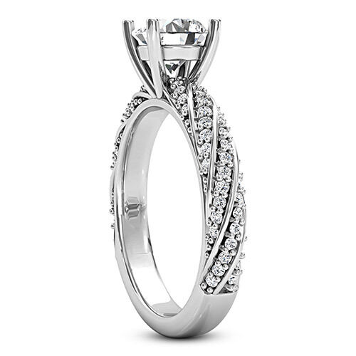 solitaire pave 1 29 carat certified round