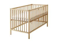 Plain wooden cot with mattress, only used for 2 months - 4 to sell.