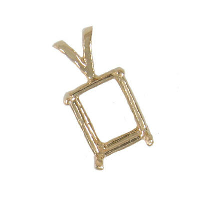 Emerald Cut Solitaire Pendant - PRENOTCHED EMERALD CUT SOLITAIRE PENDANT IN YELLOW GOLD CPEC-10KY