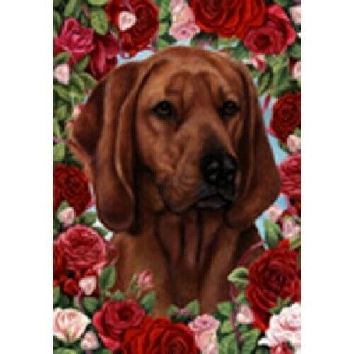Roses House Flag - Redbone Coonhound 19404