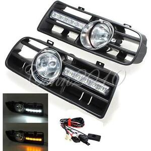 Bumper Grille Grill DRL Runni Driving LED Fog Lamp Lights For 97-06 VW GOLF MK4