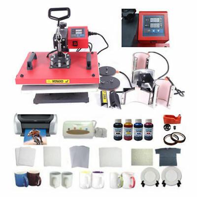 Heat Press Machine Plate Mug T-shirt Ciss Printer Sublimation Ink Paper Tape Kit