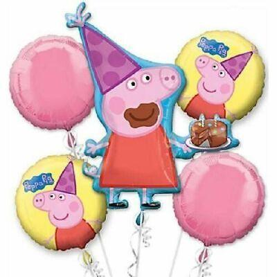Peppa Pig Birthday Hats & Cake 5pc Mylars Birthday Bouquet Foil Balloons - Pig Birthday