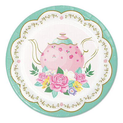 FLORAL TEA PARTY SMALL PAPER PLATES (8) ~ Birthday Supplies Cake Dessert Pastel - Tea Party Paper Plates