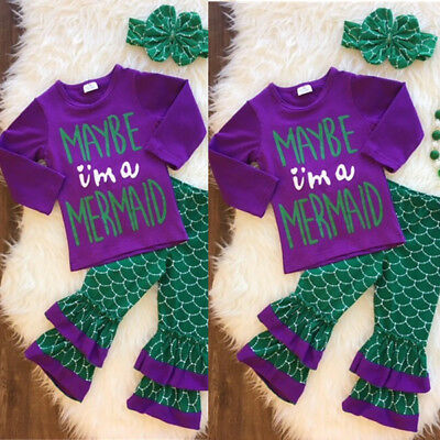 US Stock Kids Girl Baby Mermaid Clothes Long Sleeve Tops+Pants Outfits Set 0-24M