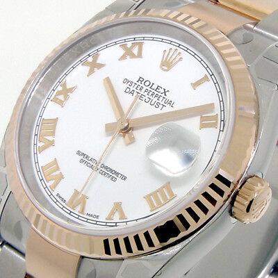 ROLEX 116231 DATEJUST 36 mm STEEL 18K PINK ROSE GOLD OYSTER BRACELET WHITE ROMAN