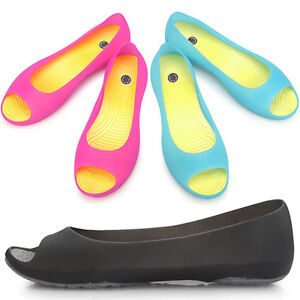 New-Lovely-Womens-Jelly-Peep-Toe-Ballet-Flats-Comfort-Shoes-Multi-Colored