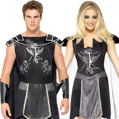 Dark Roman Warrior Adults Fancy Dress Historical Ancient Greek Gladiator - Ancient Greek Warrior Costume