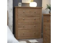 Solid Oak Wide 5 Drawer Chest of Drawers NEW