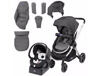 Chicco Urban Grey 3 IN One System Car seat, pushchair reversible carrycot, seat unit Grey used £80.