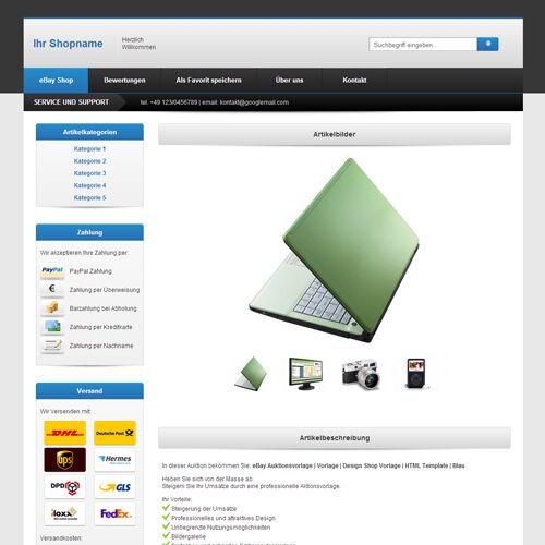 eBay Template | Listing Templates | Design ShopTemplate | HTML Template | Blue