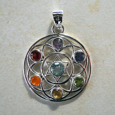 """Chakra Anhänger """"Blume des Lebens"""" aus 925er Silber mit 7 Steinen(fac.)"""