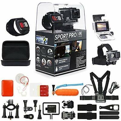SportPro 4K UHD WiFi Touch Screen Action Camera w/ Wrist Remote & Accessory Kit