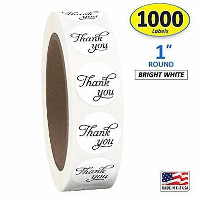 1 Inch Round Thank You Sticker Labels in Script/Calligraphy Print, 1000 Stickers