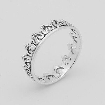 Silver ring stackable 925 sterling stack ring crown style size 7us  5mm wide