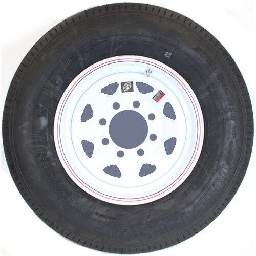 "16"" 8-6.5"" Bolt Circle White Spoke Wheel and ST23580R16E Radial Trailer Tire"