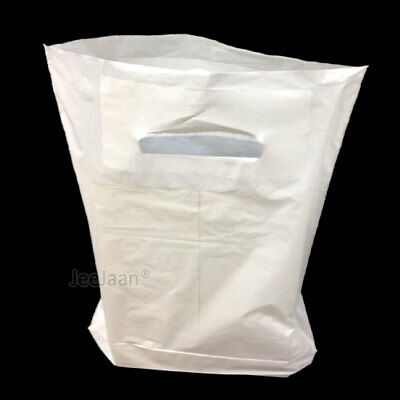 50 White Patch Handle Carrier Gift Retail Shopping Plastic Bags 12