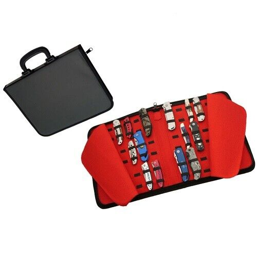New ZIPPERED POCKET KNIFE STORAGE CASE that Holds 42 Knives