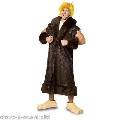 Herren 5 Stk. Barney Rubble The Flintstones + Perücke Kostüm Kleid Outfit Std (Barney Kostüm)