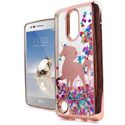 (For LG Aristo / MS210 (LV3) Rose Gold Unicorn Hearts Glitter Liquid Skin Case)