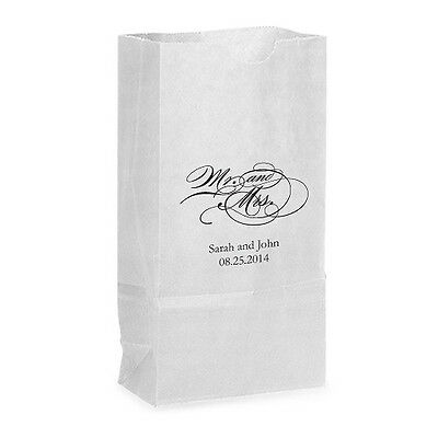 50 Mr. and Mrs. Script Personalized Wedding Favor Bags Candy Buffet