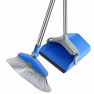 Dustpan and Broom Set with Comb Stand up Broom and Dust Pan Set with Long Han...