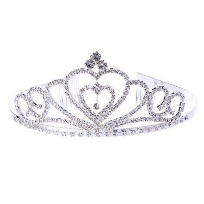 Wedding Bridal Rhinestone Heart Crown Tiara Headband Comb Pin Headdress - Heart Tiaras