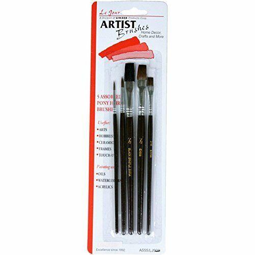"Linzer 5-Pc. Artist Paint Brush Set, 1/2"" Flat"