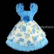 Blue Wedding Flower Girl Pageant Party Dress