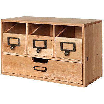 Rustic Brown Wood Desktop Office Organizer Drawers Craft Supplies Storage Cabi