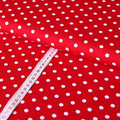 Baumwollstoff Baumwolle Punkte Dots Weiß 7mm Groß auf Rot