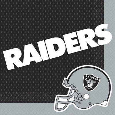 NFL OAKLAND RAIDERS LUNCH NAPKINS (16) ~ Birthday Party Supplies Serviettes - Oakland Raiders Party Supplies