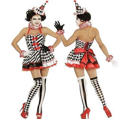 Exclusives Clown Pierrot Harlekin Zirkus Kleid Damen M 38/40 Mädchen Kostüm (Mädchen Zirkus Clown Kostüm)
