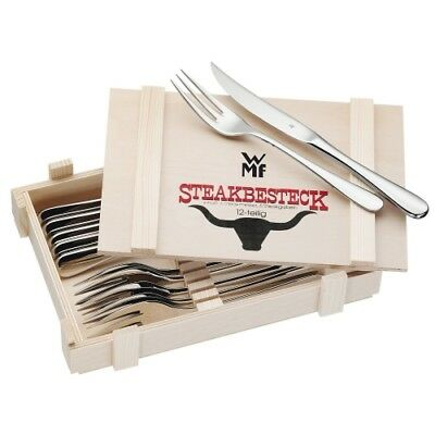 WMF STEAKBESTECK 12 TEILIG HOLZKISTE STEAK BESTECKSET 6X STEAKMESSER & 6X GABEL Set Messer Gabel