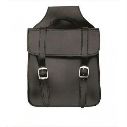 Black Leather Square Plain Throw Over Saddle Bag