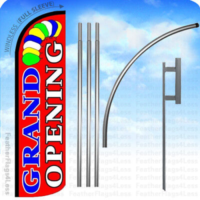 Grand Opening - Windless Swooper Flag Kit Feather Banner Sign 15 Balloons Rz